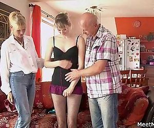Perverted parents seduces their sons GF - 6 min