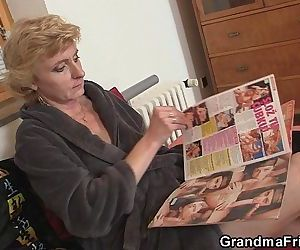 Two delivery men bang old lady - 6 min HD