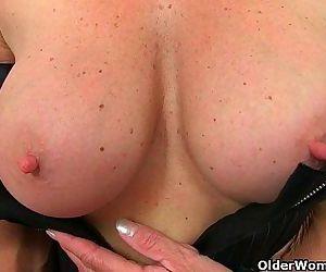 British milfs Molly and Diana masturbate in black stockingsHD