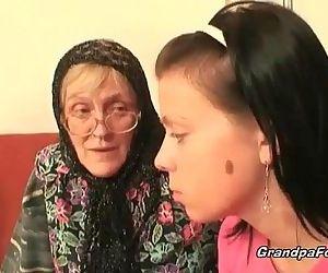Hot babe helps granny to sucks a cock - 8 min