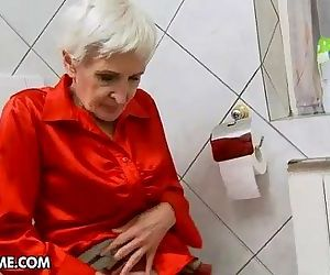 Hairy granny gets fucked by a young stud - 5 min