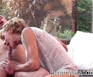 Smoking hot granny takes a young cock - 5 min
