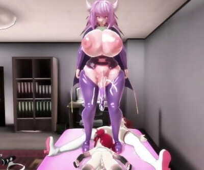 MMD Futanari Lovemaking - Maran in touble! Alma the Breeder 3P - F2D