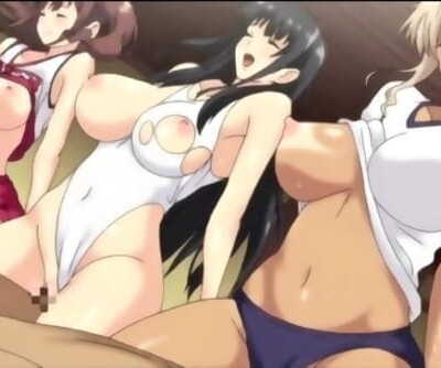 3 busty lezzies have a threesome with thick shafts - Anime Hentai