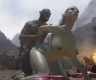 Skyrim Orc nails a beautiful orc girl #2