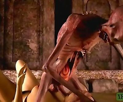 Graveyards Horny Guardian. Monster pornography horrors 3D 2 min