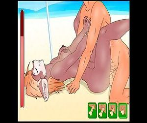 Hentai sex game Furry slut girl at the beach and library