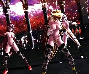 3D MMD Three Beautiful Anime Babes in Wave
