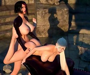 3D Dick girl fucking her girlfriend in the ass with her..