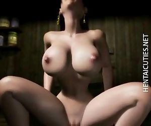 Horny 3D anime babe gets pussy jizzed - 5 min