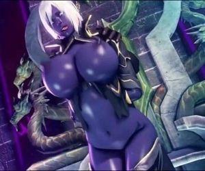 Dark elf gets fuck by all monster - 7 min