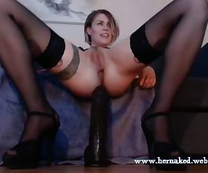 Sexy Anal Freak Takes In A Huge Dildo
