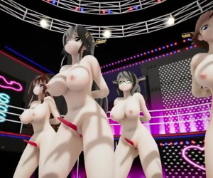 MMD SEX KanColle Kongou Sisters On Stage Titty Shake And..