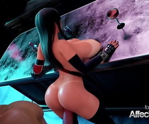 Thick hooters bartender blacked in a 3d animation 2 min