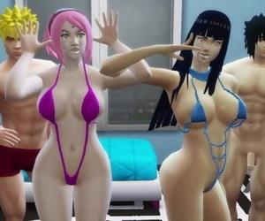 Hinata and Sakura Fucked by the Ass together Naruto Hentai..