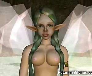 3D Futanari Fairy Shows Her Cum..