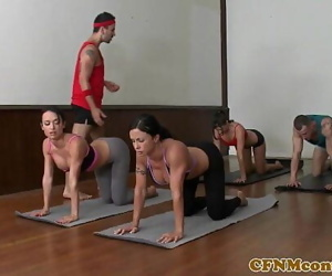 CFNM yoga milf group closeup swapping jism 8 min 720p