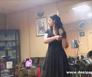 indian wifey in bedroom dancing for hubby to tease him to make his mood for sex - 1 min 1 sec