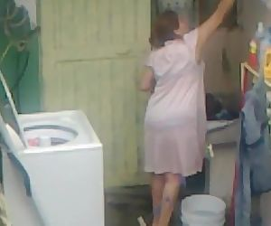 Spying Aunty Ass Washing ... Big Pouch Round Plumper Mother