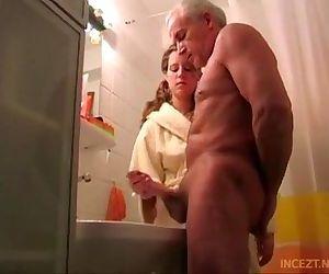 Granddaughter help her grand dad cum shoot - 13 min