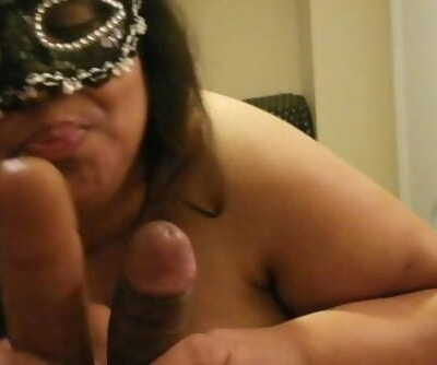 Plumper Wifey Cuckold SPH husband 6 inch dick with 8 inch BBC Fake penis Cums stiff