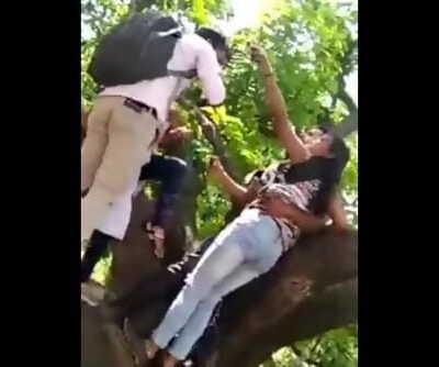 Desi woman with boyfriend in jungle