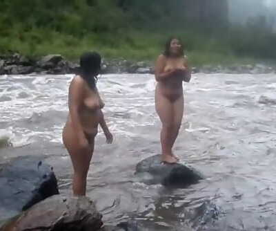Two Desi Indian MILFs bare bathtub on river