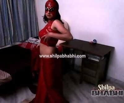 Sexy Shilpa Bhabhi Indian Wifey In Red Saree Unclothing Bare Hookup