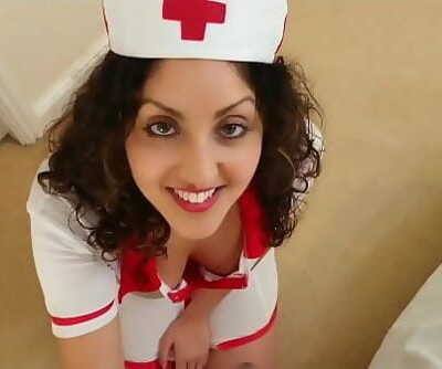 British Nurse collects patient glue sample but ends up guzzling it suck POV Indian Ten min 1080p