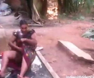 Mature Indian Housewife Open Air Outdoor Shower Filmed by..