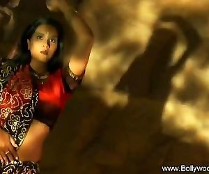 Indian Black-haired Dance Gracefully