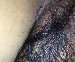 Hairy wife in black bra & tight..