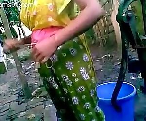 Pretty Young Bangladeshi Deshi Girl with Big Boobs Films Herself Bathing Outdoor Butt Naked 15 min