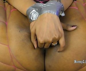Duct-taped HornyLily Ball Gagged and Gags and deep throat her BBC dildo