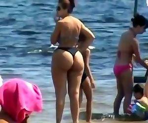 Spying Mom - Plumper Butt - Beach voyeur - Candid Big Ass - Chubby Granny