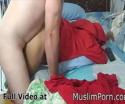 hijab bent over table and fucked after suck