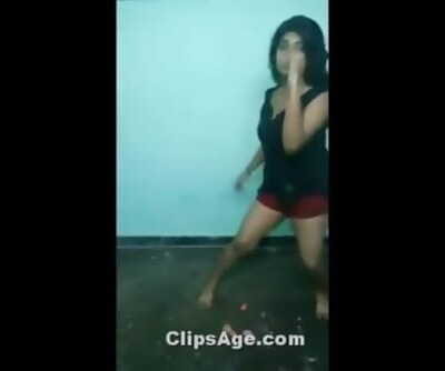 Desi girl sexy dance in shorts bouncing boobs