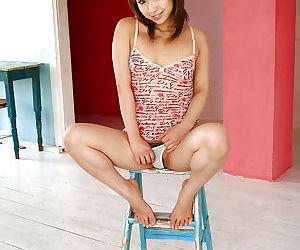 Petite asian cutie in underwear Karen Ichinose slipping off her top