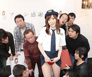 Japanese police force slut flashes naked upskirt before bad guy gangbang