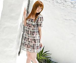 Petite asian babe Miyu Nakai has no lingerie under her fancy dress