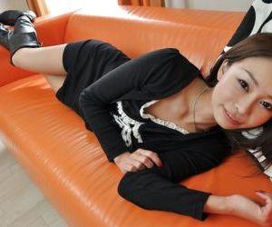 Admirable asian teen Honoka Kawai gets naked and involved into sex toys play