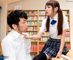 Japanese schoolgirl takes off OTK socks and shoes to please a cock with feet