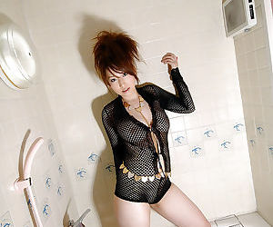 Hot asian babe on high heels Ai Sayama stripping and spreading her legs