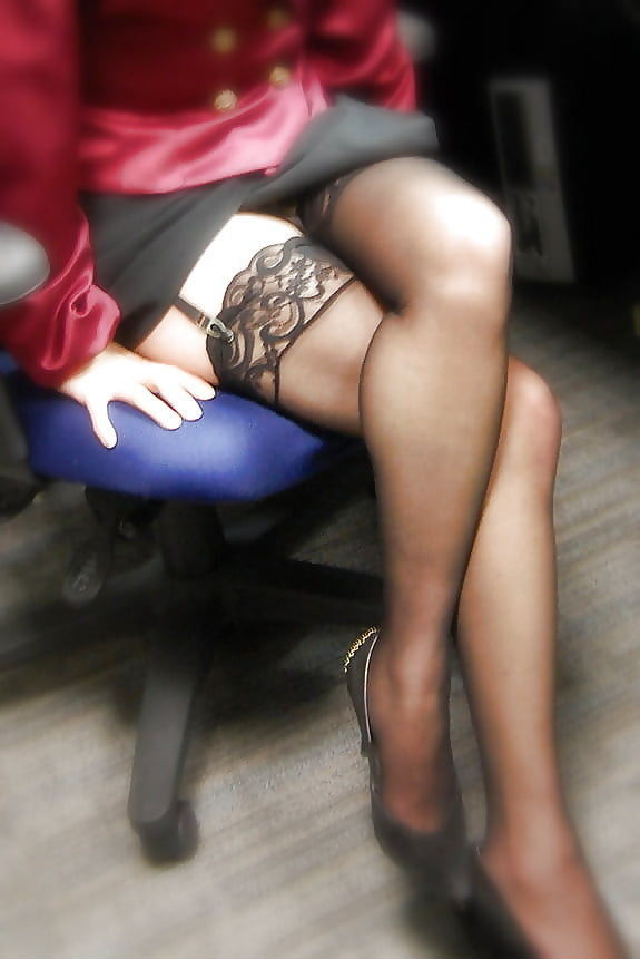 Garters and lace stockings secretary tease