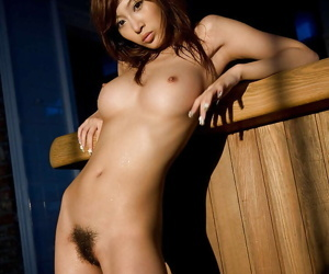 Steaming hot asian babe with hairy pussy Kirara Asuka posing in stockings