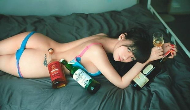 Pretty Pinay Babe Lying Down Topless WIth Her Panties Coming Down