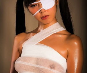 Japanese girl Marica Hase endures kinky sex with a doctor wearing an eye patch