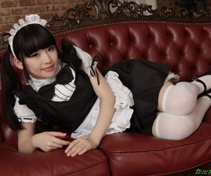 Japanese maid Yuna Himekawa gets her hairy vagina fucked and creampied