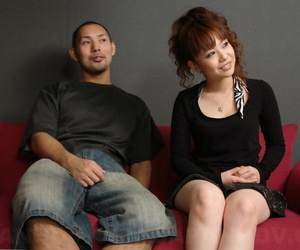 Asian redhead Sakura sports a pearl necklace after a couples fuck
