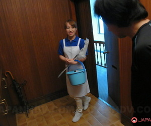 Redhead Japanese maid Yukari Toudou sports a creampie after sex with her boss